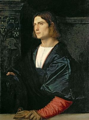 Young Man with Cap and Gloves, c.1515 (oil on canvas)