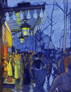 "Louis Anquetin's ""Avenue de Clichy,"" 1887, employs flat areas of color and a surface resembling cloisonne enamel, to create an unforgettable image of street life in late 19th century Paris. (Wadsworth Antheneum Museum of Art)"