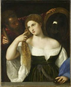 Titian - Woman with a Mirror - c 1515
